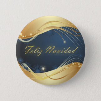 Golden Christmas motive with blue background... 2 Inch Round Button