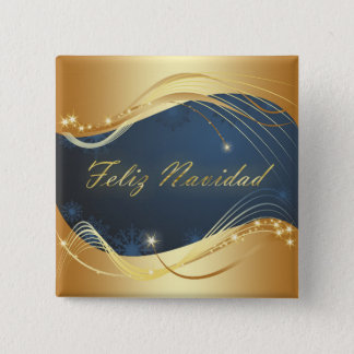 Golden Christmas motive with blue background... 2 Inch Square Button