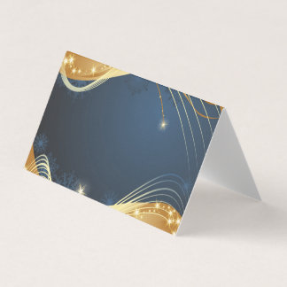 Golden Christmas motive with blue background... Card