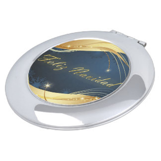 Golden Christmas motive with blue background... Mirror For Makeup