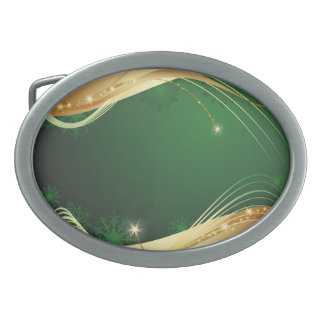 Golden Christmas motive with green background... Belt Buckles