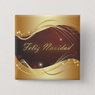 Golden Christmas motive with red background... 2 Inch Square Button