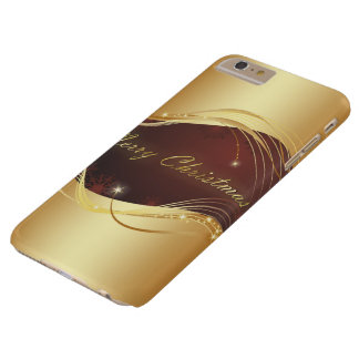 Golden Christmas motive with red background... Barely There iPhone 6 Plus Case