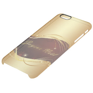 Golden Christmas motive with red background... Clear iPhone 6 Plus Case