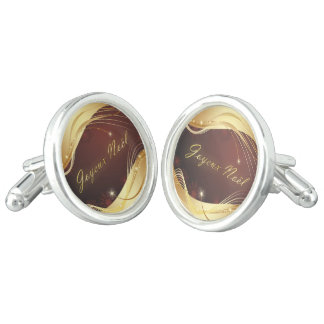 Golden Christmas motive with red background... Cuff Links