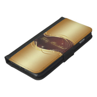 Golden Christmas motive with red background... iPhone 6/6s Plus Wallet Case