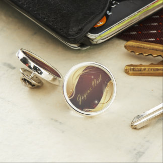 Golden Christmas motive with red background... Lapel Pin