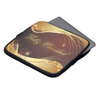 Golden Christmas motive with red background... Laptop Sleeve