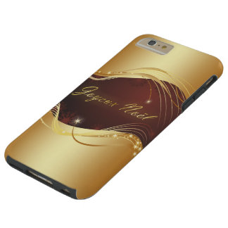 Golden Christmas motive with red background... Tough iPhone 6 Plus Case