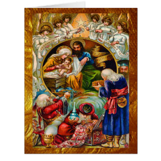 Golden Christmas Nativity Big Card
