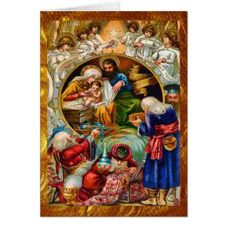 Golden Christmas Nativity Card