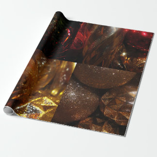 Golden Christmas Ornaments Wrapping Paper