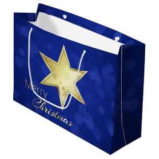 Golden Christmas Star Blue Bokeh - Large Gift Bag