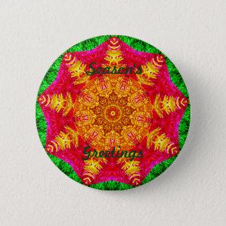 Golden Christmas Star Fractal 2 Inch Round Button