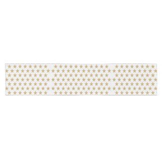 Golden Christmas Star pattern Gold & White Short Table Runner