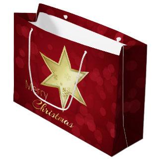Golden Christmas Star Red Bokeh - Large Gift Bag