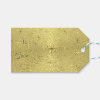 Golden Christmas Stars  Holiday Gift Tags