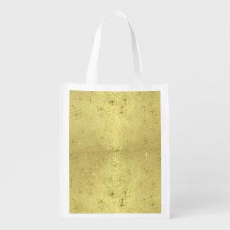 Golden Christmas Stars on Foil Paper Reusable Grocery Bag