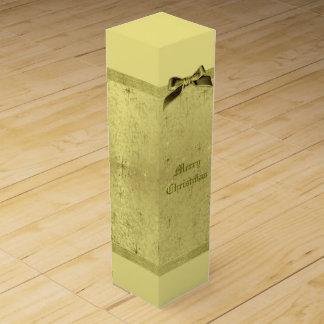 Golden Christmas Stars on Foil Paper Wine Gift Box