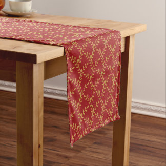 Golden Christmas tree branches on red - Xmas Short Table Runner