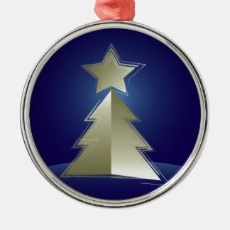 Golden Christmas tree Silver-Colored Round Ornament