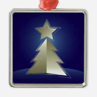 Golden Christmas tree Silver-Colored Square Ornament