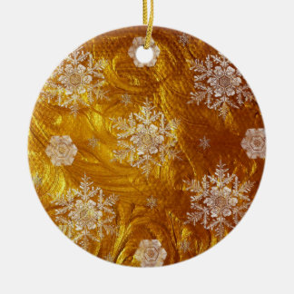 Golden Christmas with Snowflakes Round Ceramic Ornament