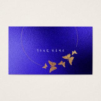 Golden Circle Blue Cobalt Butterfly Black Business Card