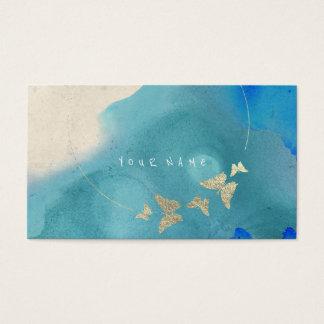 Golden Circle Blue Cobalt Butterfly Watercolor Business Card