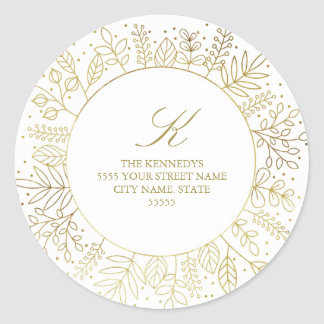 Golden Circle Winter Foliage Return Address Sticke Classic Round Sticker