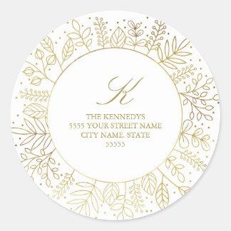 Golden Circle Winter Foliage Return Address Sticke Round Sticker