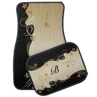 Golden Citrine Floral and Black Car Mat