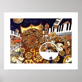 Golden Clock - Clocklands - 18 x 14 Poster