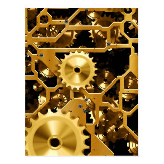 Golden clock mechanism postcard