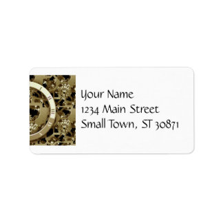 Golden Clocks and Gears Steampunk Mechanical Gifts Label
