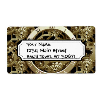 Golden Clocks and Gears Steampunk Mechanical Gifts Labels
