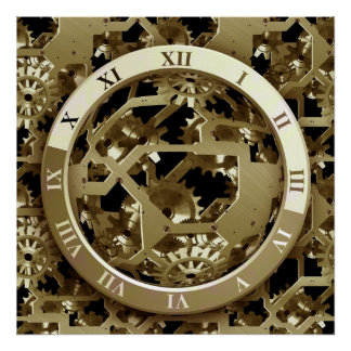 Golden Clocks and Gears Steampunk Mechanical Gifts Poster