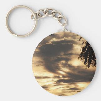 Golden Clouded Sunrise Basic Round Button Keychain