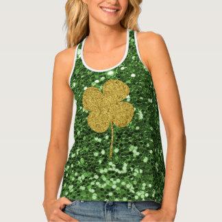 Golden Clover Green Faux Glitter Tank Top