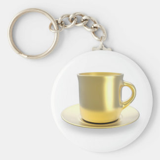 Golden coffee cup keychain