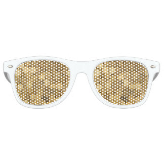 Golden Coins Adult Retro Party Shades, White Party Shades