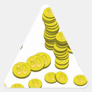 Golden Coins Triangle Sticker