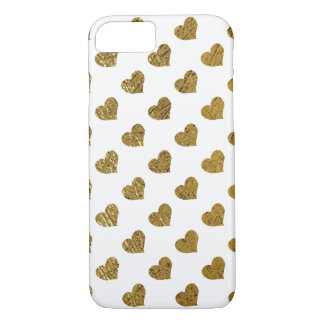 golden-color hearts on white iPhone 7 case