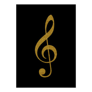 golden-color treble clef music poster