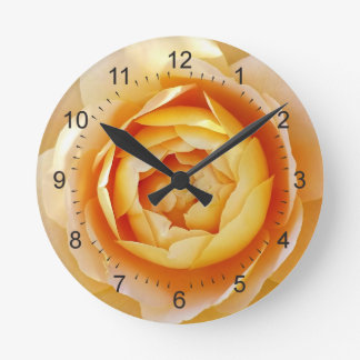 Golden colored rose round clock