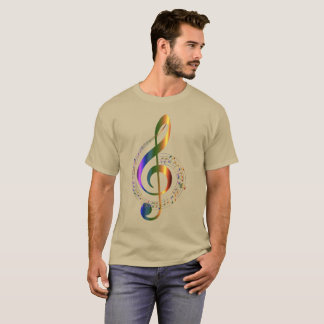 Golden Colorful Treble Clef Music Notes Swirl T-Shirt