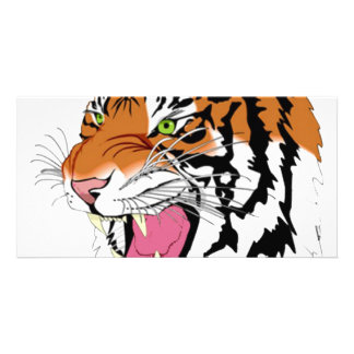 Golden Colred Tiger With Pink Tongue Photo Greeting Card
