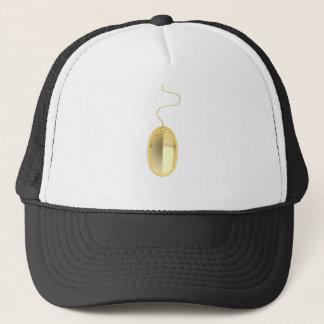 Golden computer mouse trucker hat