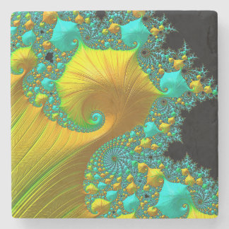 Golden Cone Stone Coaster Design