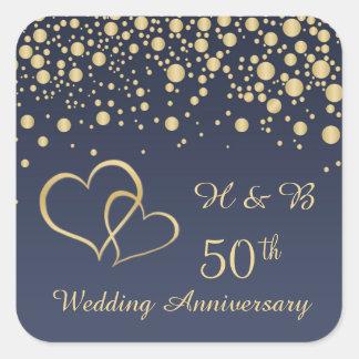Golden confetti 50th Wedding Anniversary Sticker